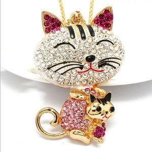 Pink Cat and Kitten Necklace